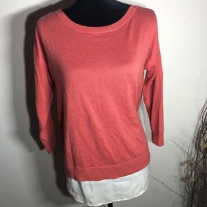 Ann Taylor Rust Orange Layered Top. Size Small
